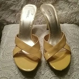 "Shoes - XAPPEAL YELLOW SLIP-ONS 3"" HEELS"